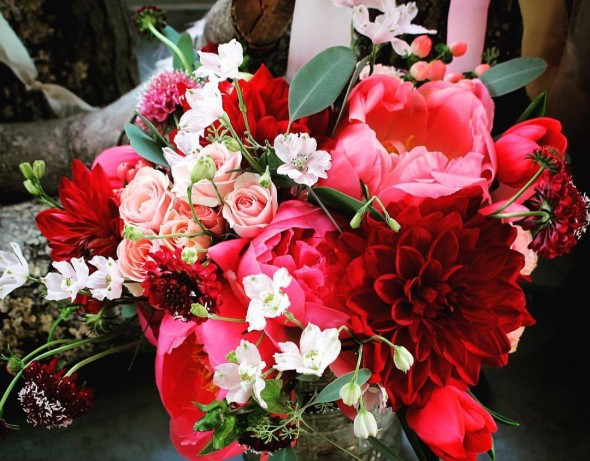 Coral, Blush and Crimson